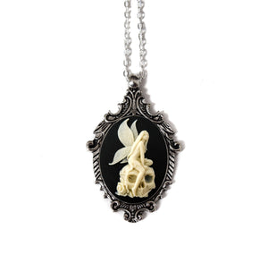 Angel Skull Cameo Necklace, Cream on Black, Victorian Ornate Antique Silver Pendant