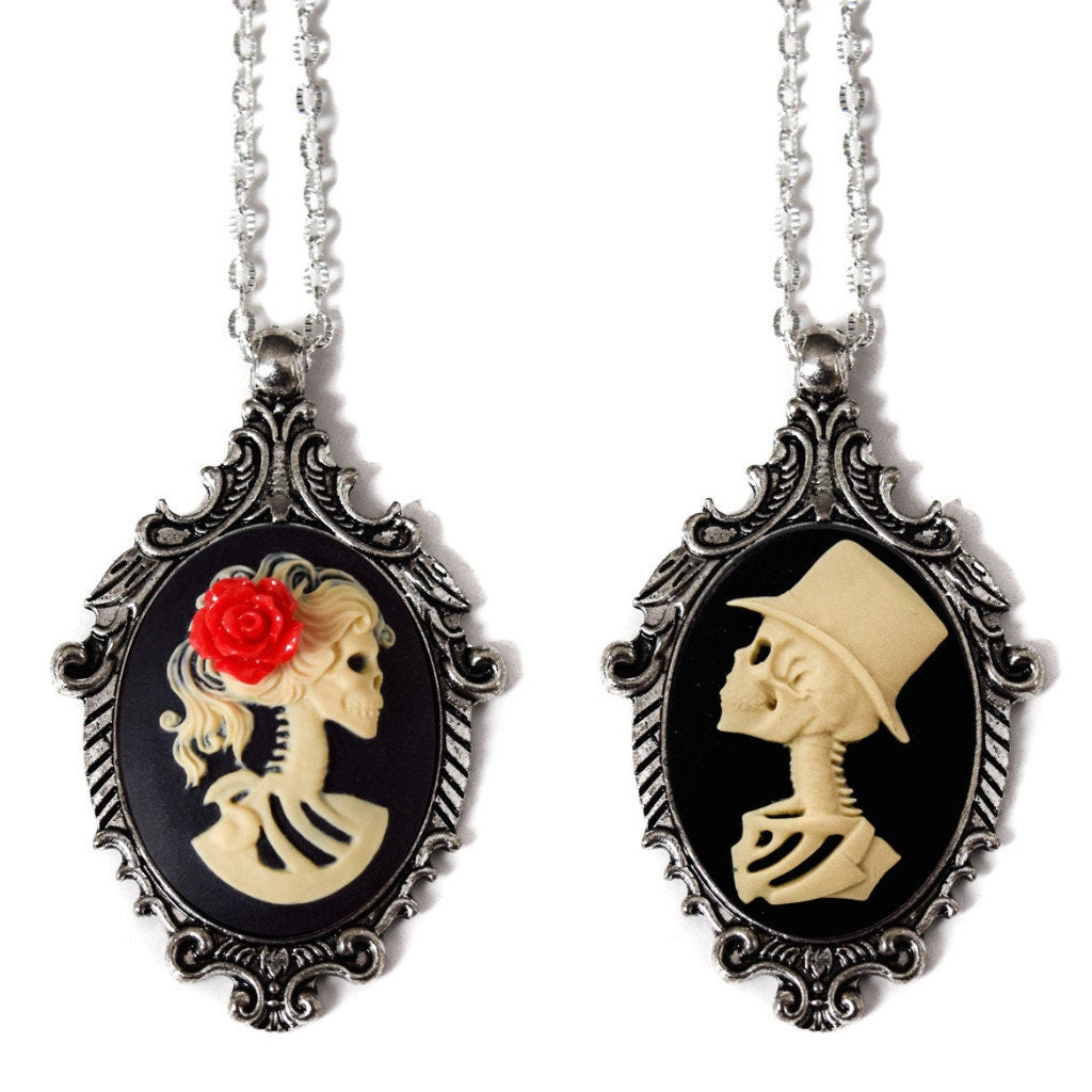Bridal Lolita Lady and Skeleton Man Cameo Necklace Set, Cream on Black, Wedding Gift for Bride and Groom