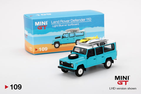 #109 - Land Rover Defender 110 (Light Blue with Surfboard)