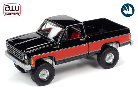 1978 Chevrolet K10 Silverado Fleetside (Gloss Black with Red Sides)