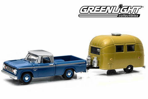 1966 Dodge D-100 with Gold Anodized Airstream 16' Bambi Sport