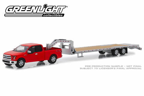 2017 Ford F-150 in Red and Gooseneck Trailer in Silver