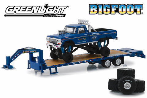 "Bigfoot #1 The Original Monster Truck (1979) - 1974 Ford F-250 Monster Truck on Gooseneck Trailer with Regular and Replacement 66"" Tyres"