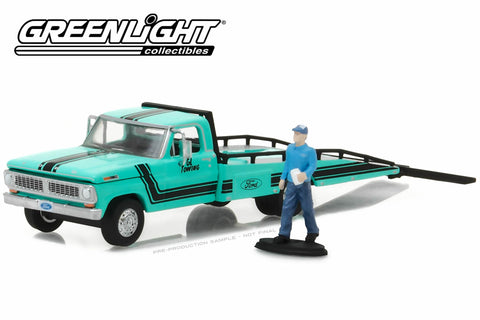1967-72 Ford F-350 Ramp Truck with Truck Driver Figure