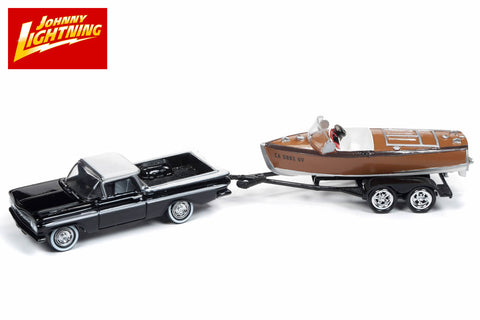 1959 Chevrolet El Camino with Vintage Barrelback Wood Boat