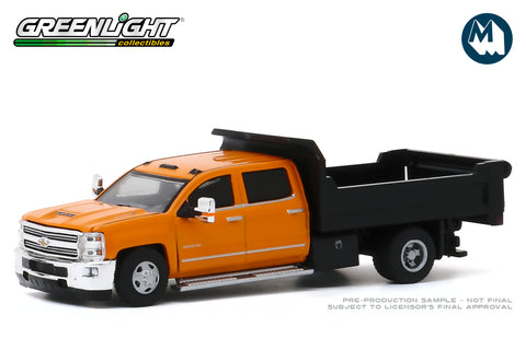 2017 Chevrolet Silverado 3500 Dually Dump Truck - Orange and Black