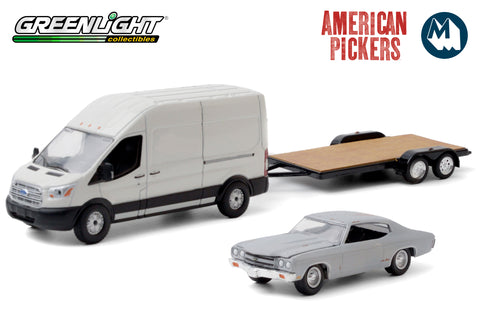 American Pickers - 2015 Ford Transit LWB High Roof with Unrestored 1970 Chevrolet Chevelle Malibu on Flatbed Trailer