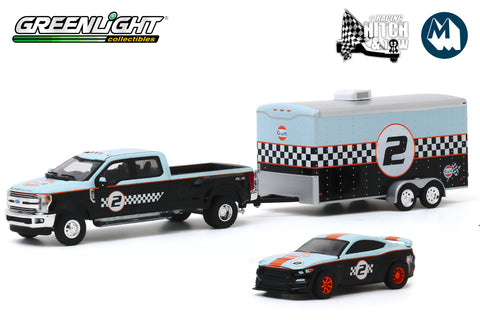 2019 Ford F-350 Dually and 2019 Ford Shelby GT350R Gulf Oil with Enclosed Gulf Oil Car Hauler