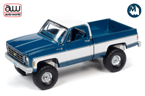 1978 Chevrolet K10 Silverado Fleetside (Bright Blue Iridescent with White Sides & Roof)