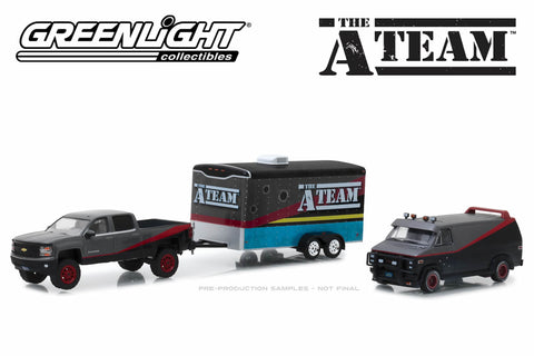 The A-Team - 2015 Chevy Silverado / 1983 GMC Vandura with Bullet Holes / Enclosed Car Hauler