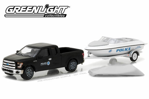 2015 Ford F-150 with Homeland Security Marine Enforcement Police Boat with Boat Trailer