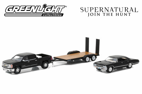 Supernatural (TV Series 2005-Current) 2015 Chevy Silverado with 1967 Chevrolet Impala Sport Sedan on Flatbed Trailer
