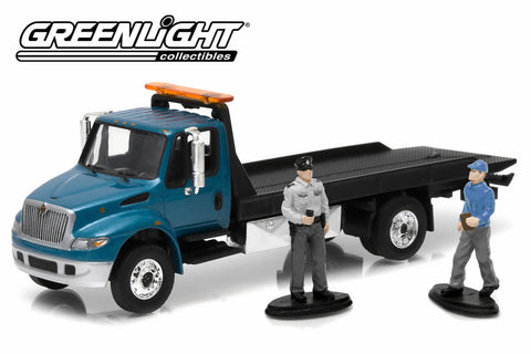 2013 International Durastar 4400 Flatbed Truck with Tow Truck Driver and Police Officer