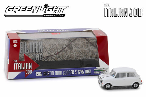 1:43 - The Italian Job (1969) / 1967 Austin Mini Cooper S 1275 MkI (White with Black Leather Straps)