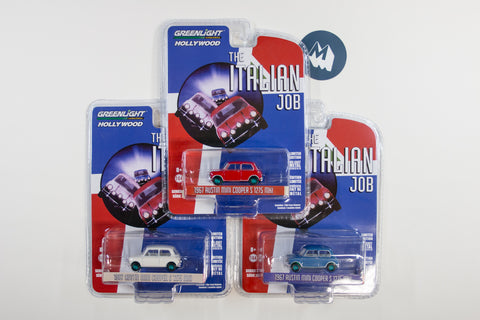 [Green Machine] Full set of 3 The Italian Job Austin Mini Coopers (Red, White and Blue)