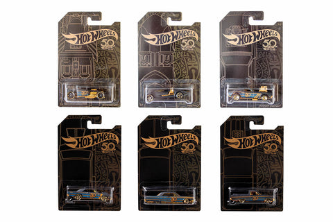 Hot Wheels Black & Gold (50th Anniversary) - Set of 6