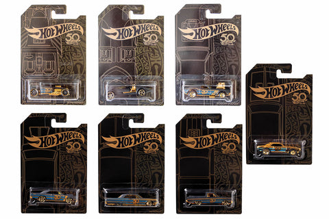 Hot Wheels Black & Gold (50th Anniversary) - Set of 6 + chase