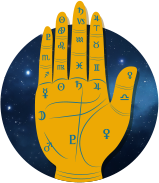 Palm with Astrology Symbols
