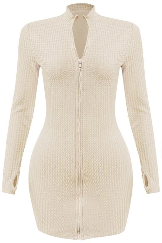 Dukati Thermal Zipper Mini Dress Cream - Style Delivers