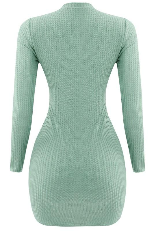 Thermal Waffle Knit Mini Dress Mineral - Style Delivers