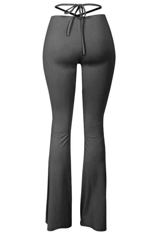 X-Tina Ruched Front Waist Tie Flare Pants Black - Style Delivers