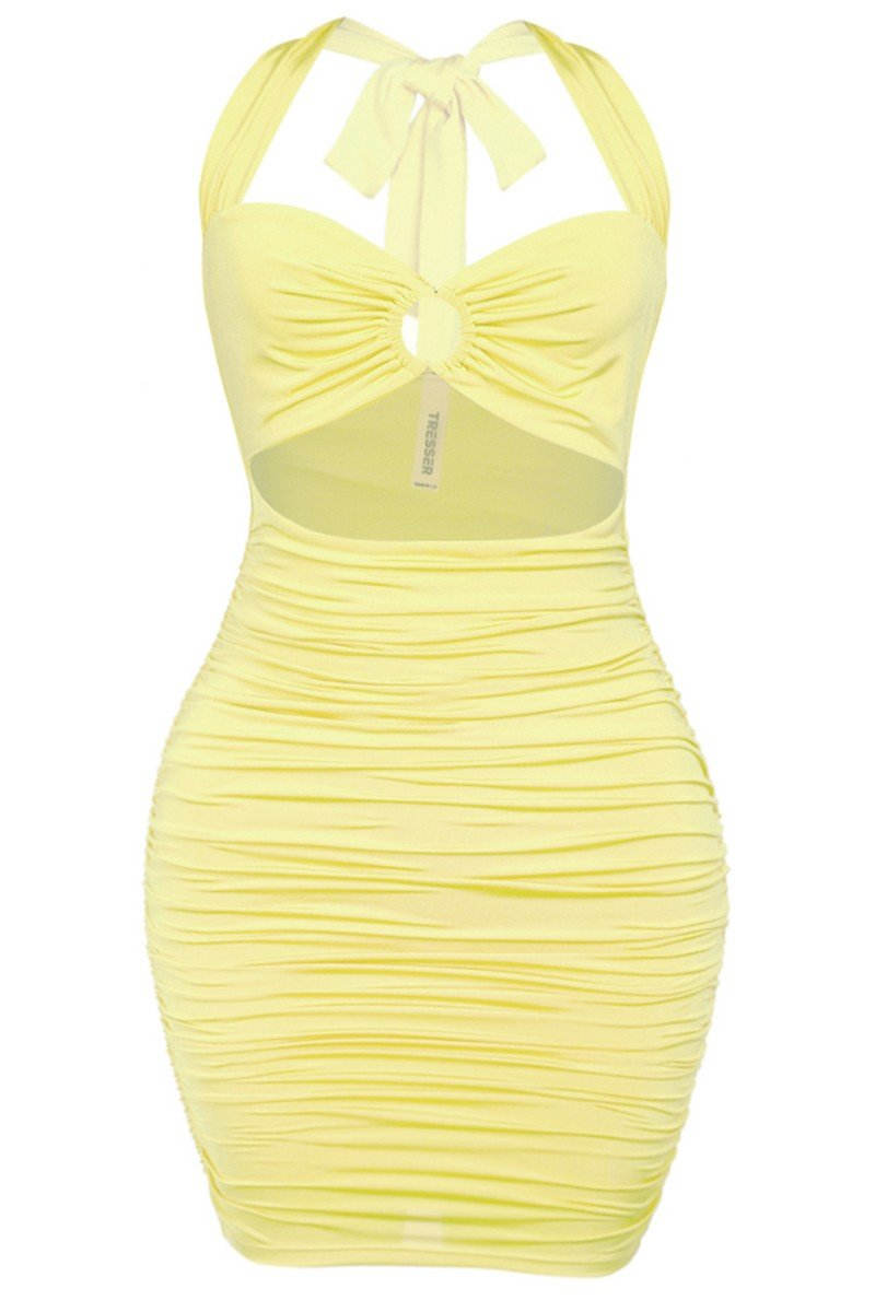 Somebody's Baby Ruched Mini Dress Pastel Yellow - Style Delivers