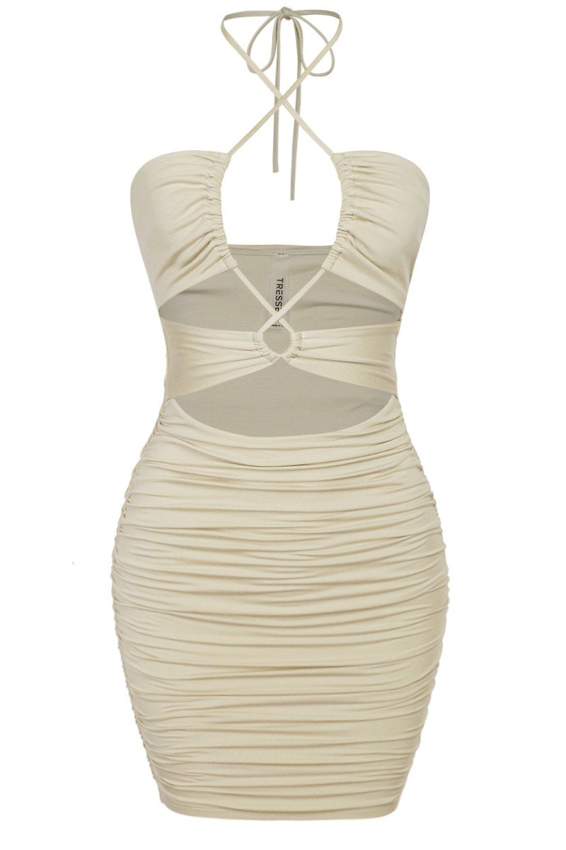 Get it Twisted Mini Dress Oatmeal - Style Delivers
