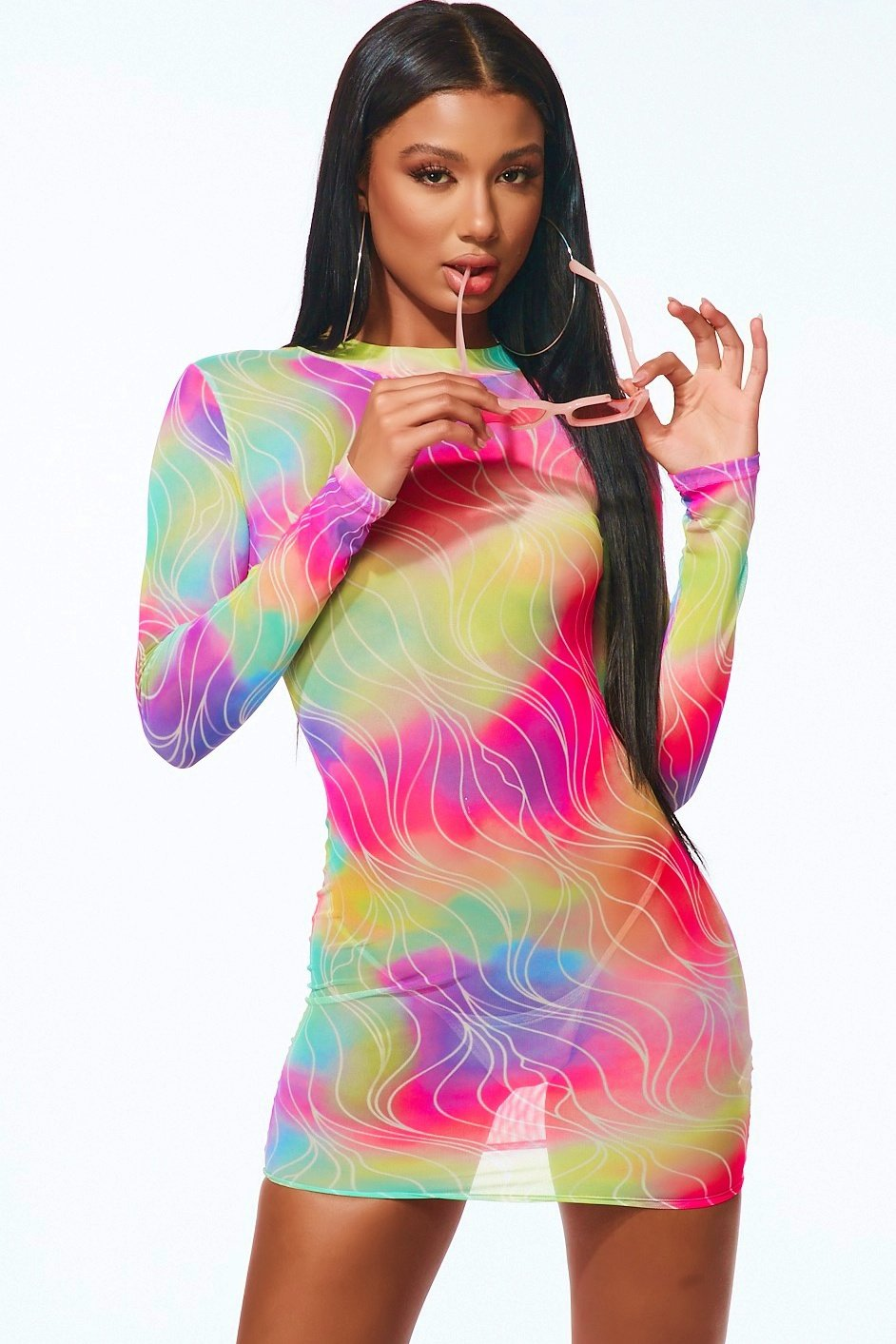 Cosmic Girl Mesh Mini Dress Pink - Style Delivers