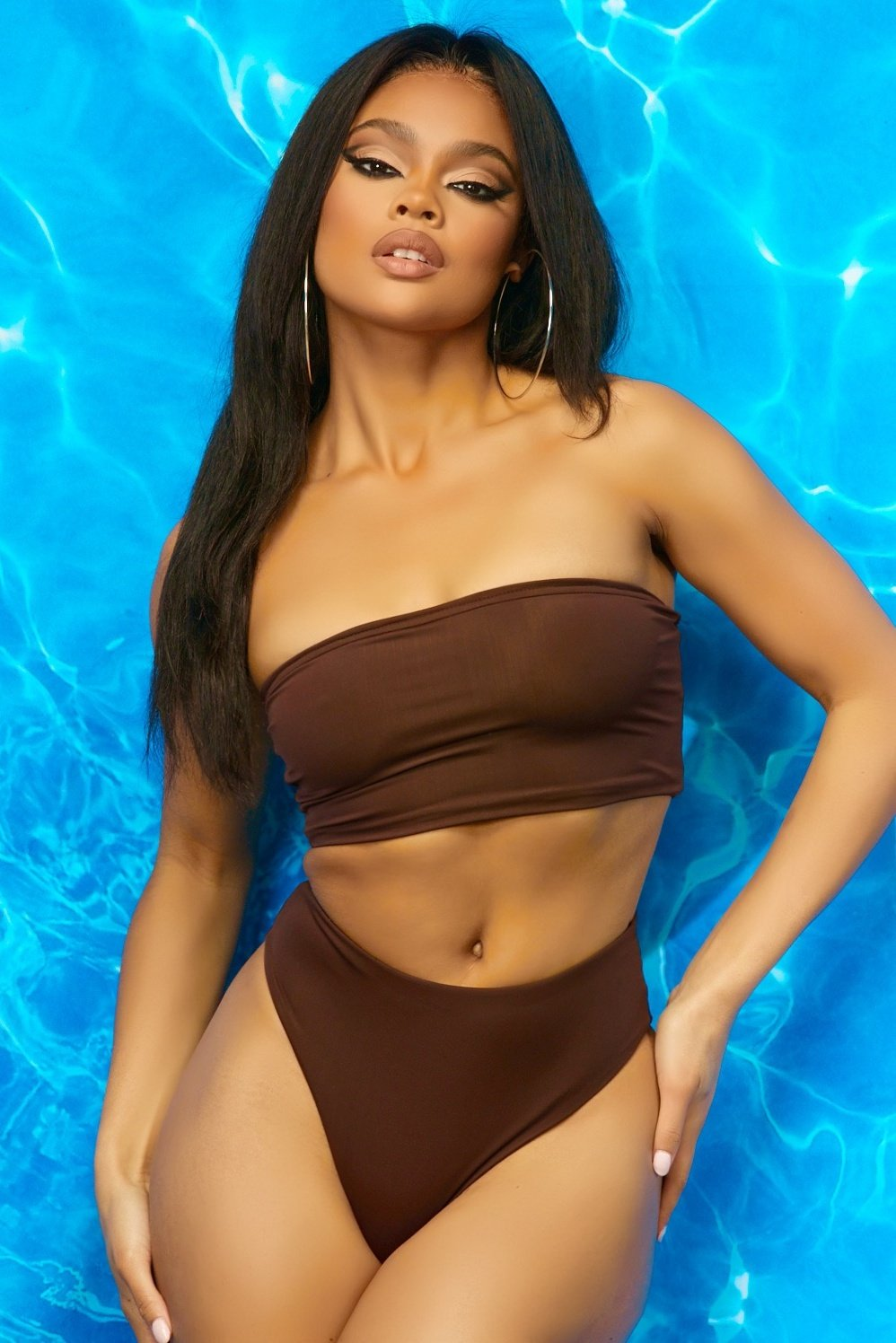 Seaside Bandeau Bikini Dark Brown - Style Delivers