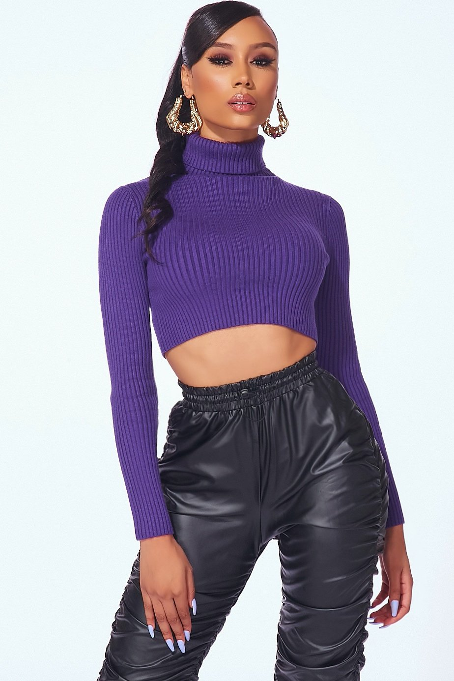 Purple Cropped Knit Turtleneck Sweater Top - Style Delivers