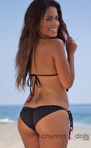 Manhattan: Fringe Triangle Halter Bikini in Solid Black