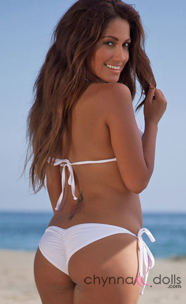 Manhattan: Fringe Triangle Halter Swimsuit in Solid White - Chynna Dolls Swimwear