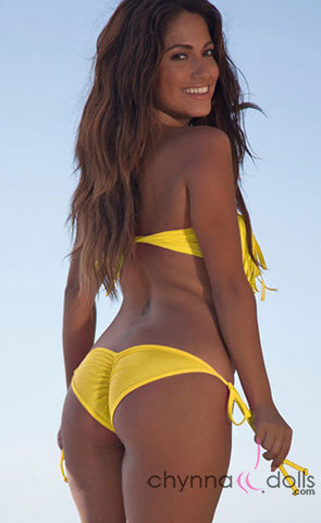 Dana Pointe: Fringe Bandeau Top in Solid Yellow - Chynna Dolls Swimwear