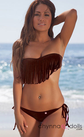 Dana Pointe: Fringe Bandeau Top in Solid Brown (TOP ONLY) - Chynna Dolls Swimwear
