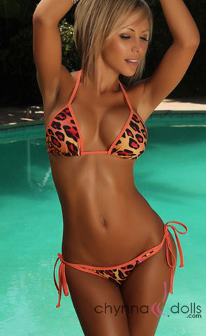 Safari Sunset: String Bikini in Orange Leopard Print