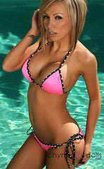 Laguna: String Bathing Suit in Neon Pink x Black/white Dots Trim