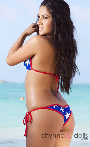 Venice: Micro Swimsuit in Royal Blue w/ White Stars Print and Red Shimmer Trim - Chynna Dolls Swimwear