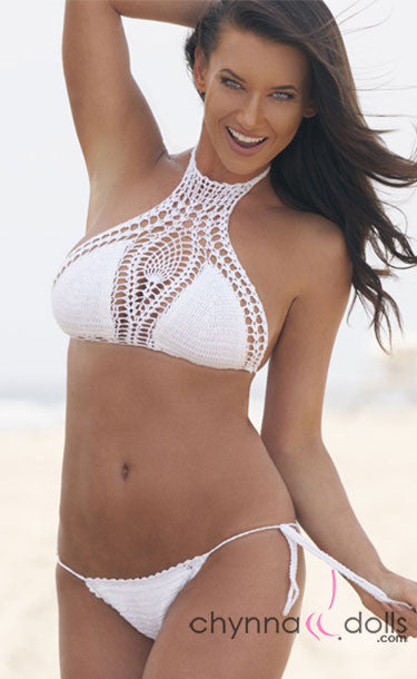 Caribbean: Crochet Halter 2 Piece Swimsuit in White - Chynna Dolls Swimwear