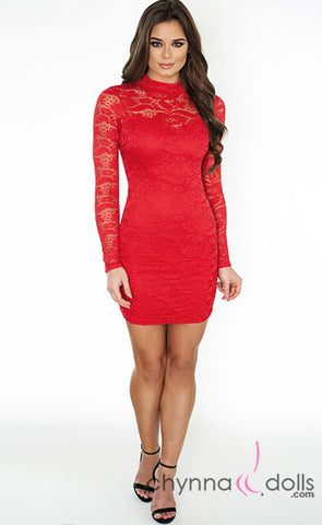 Scarlett: Long-sleeved Lace Mini Dress - $28.99