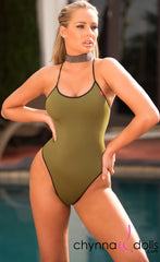 Phoenix: One Piece Adjustable Lace-up Back in Olive Green with Black Trim - Chynna Dolls Swimwear