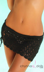 Crochet Mini Sarong in Black