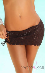 Crochet Mini Sarong in Brown - Chynna Dolls