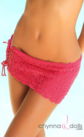 Crochet Mini Sarong in Fuchsia Pink