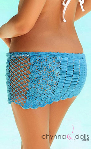 Crochet Mini Sarong in Turquoise