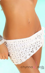 Crochet Mini Sarong in White - Chynna Dolls Swimwear