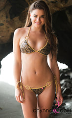Marbella: String Bikini in Black/Gold Sequin w/ Gold Shimmmer Trim and Gold Rings