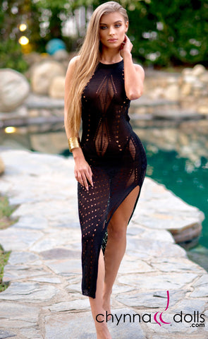 Beverly: Crochet Maxi Dress Cover-up in Black - Chynna Dolls Swimwear