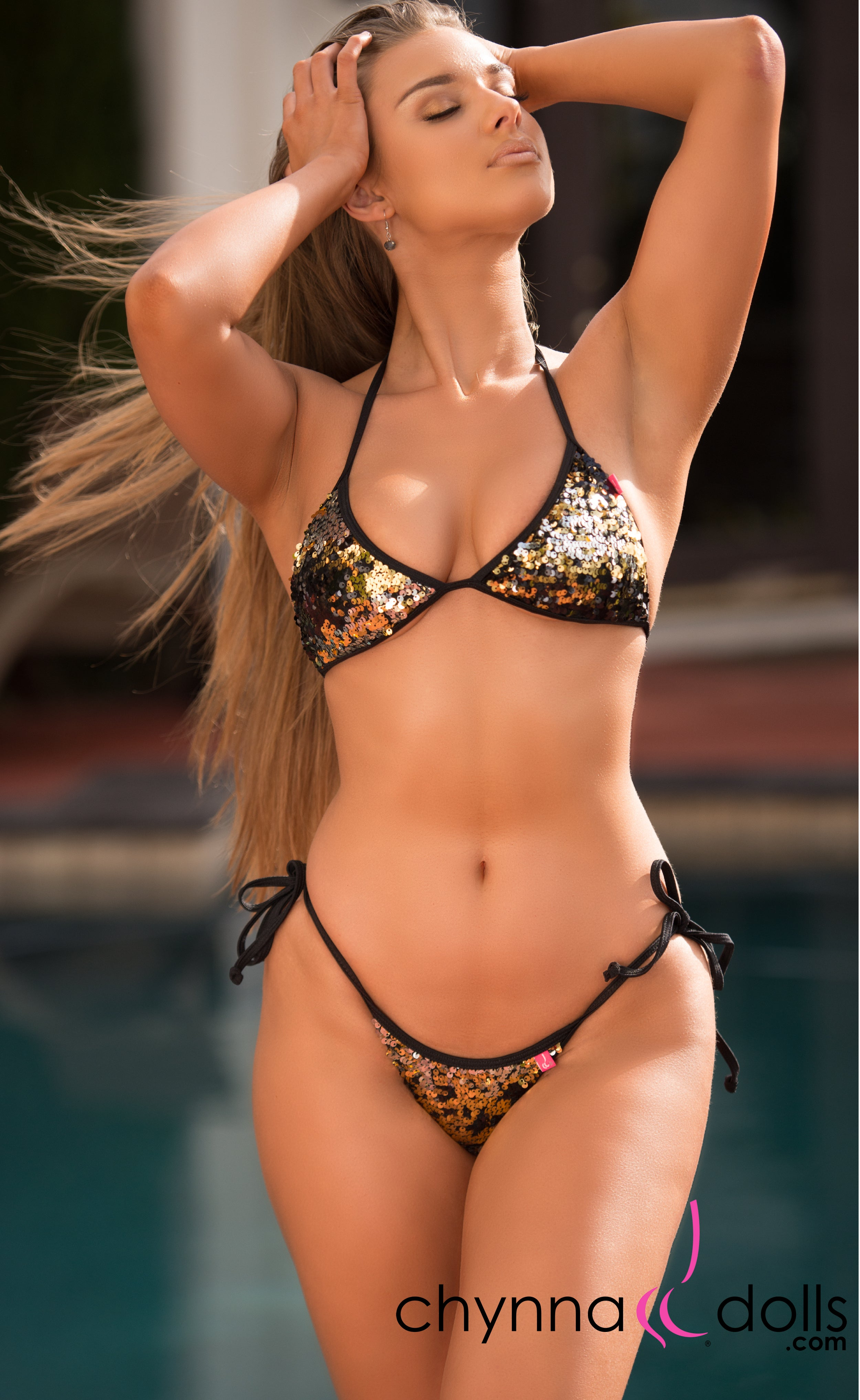 Cadiz: String Bikini in Black/Gold Sequin - Chynna Dolls Swimwear
