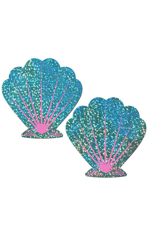 Pastease: Liquid Seafoam Green and Pink Seashell Pasties - Chynna Dolls Swimwear