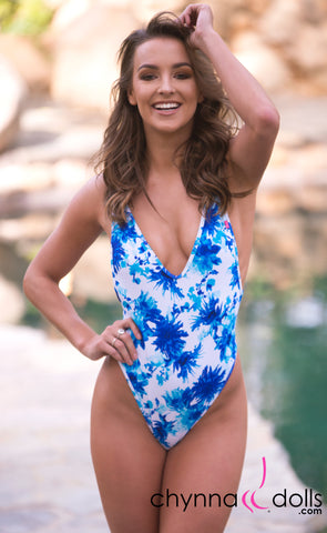 St. Martin: High Cut Swimsuit Monokini w/ Plunging Neckline in Blue Flowers on White